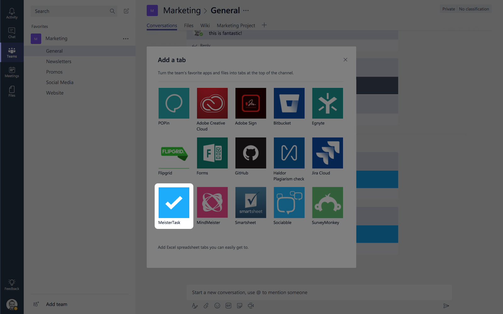 MeisterTask for Microsoft Teams selecting MeisterTask