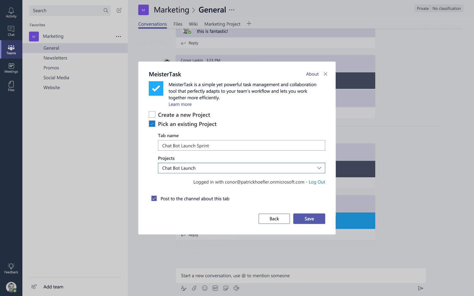 MeisterTask for Microsoft Teams selecting project