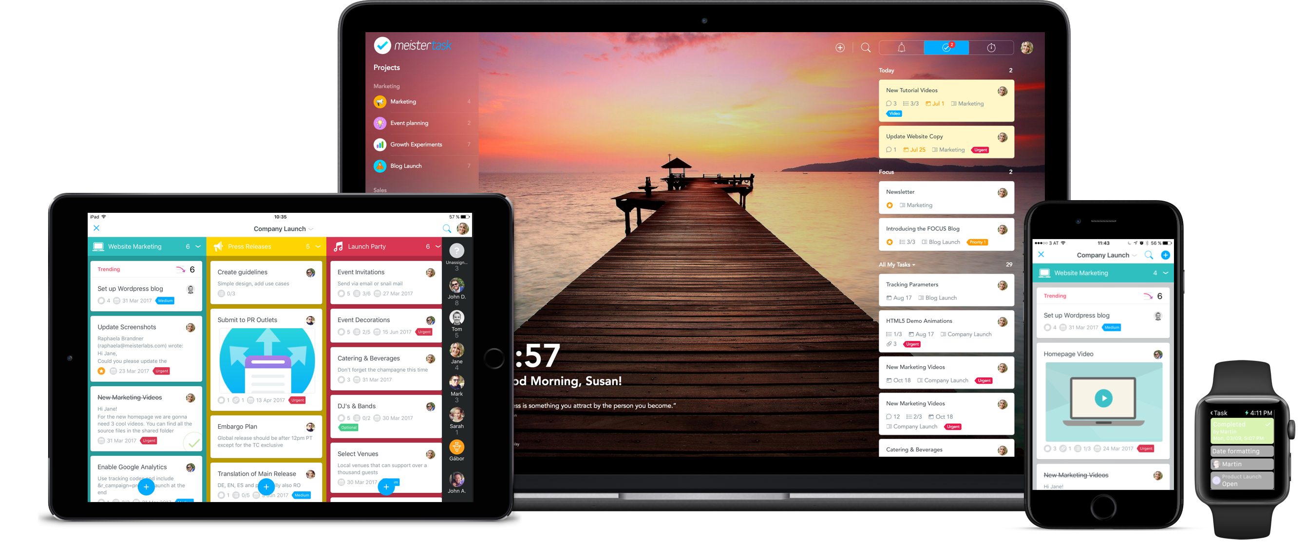 project management MeisterTask business device group on desktop, tablet, mobile, Apple watch