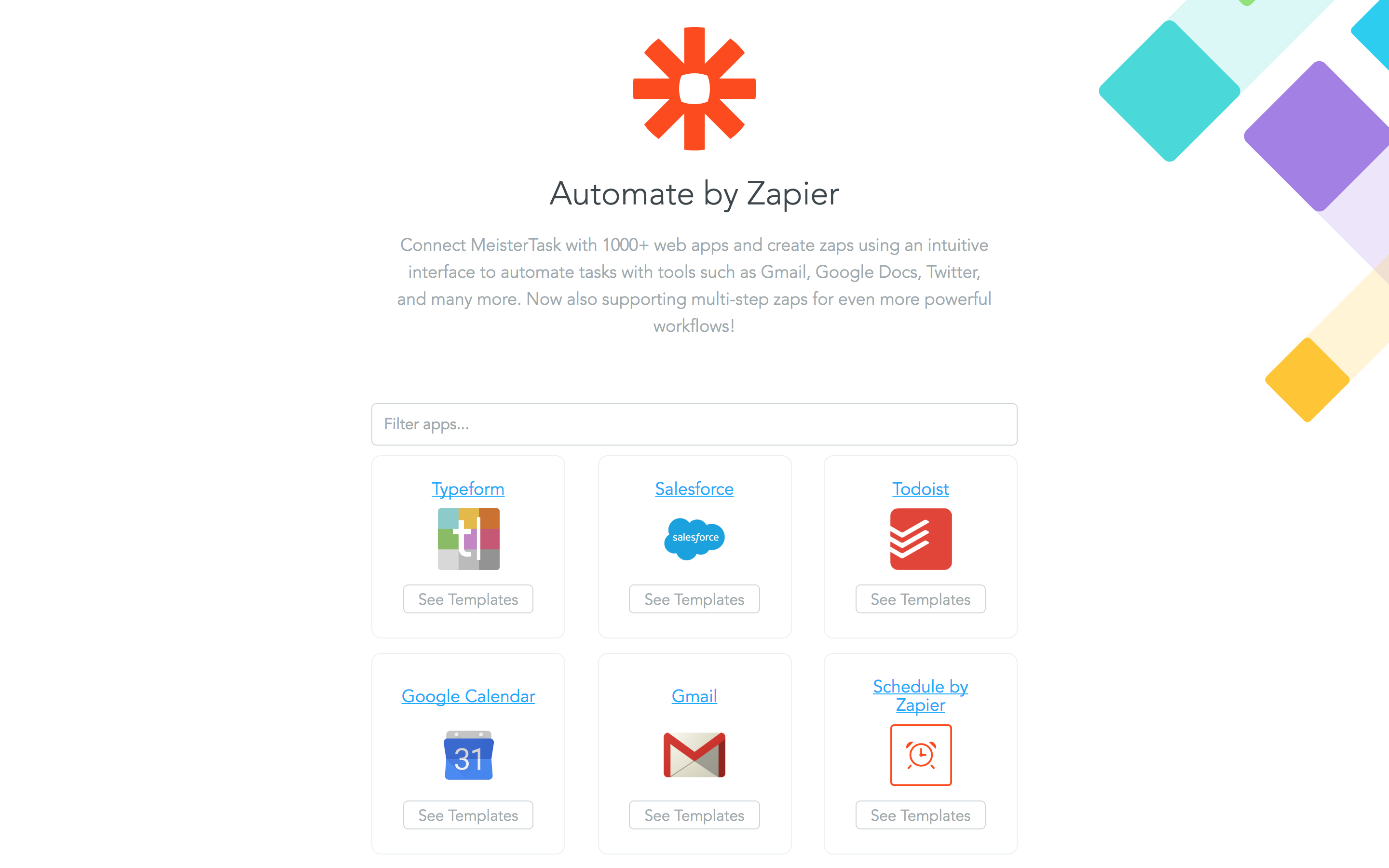 Automate by Zapier Integrate with MeisterTask Zapier choose app