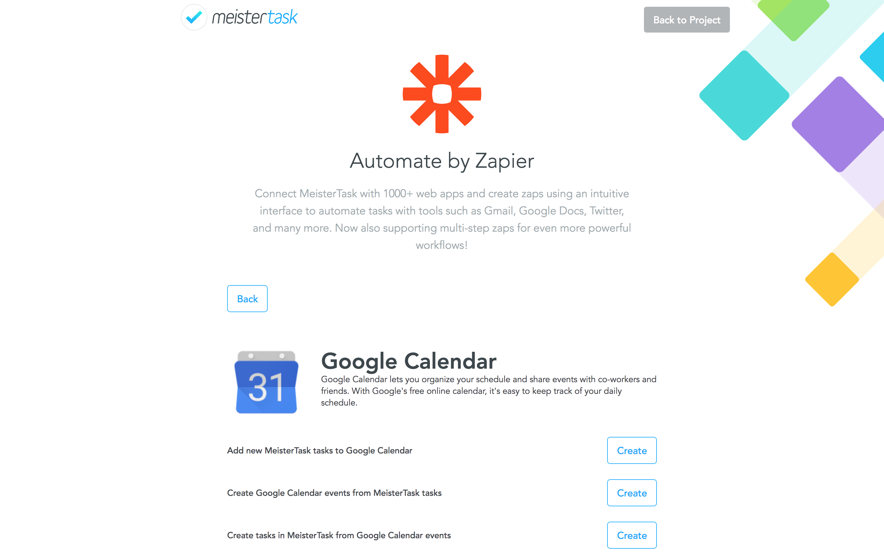 Automate by Zapier Integrate with MeisterTask Zapier choose zap