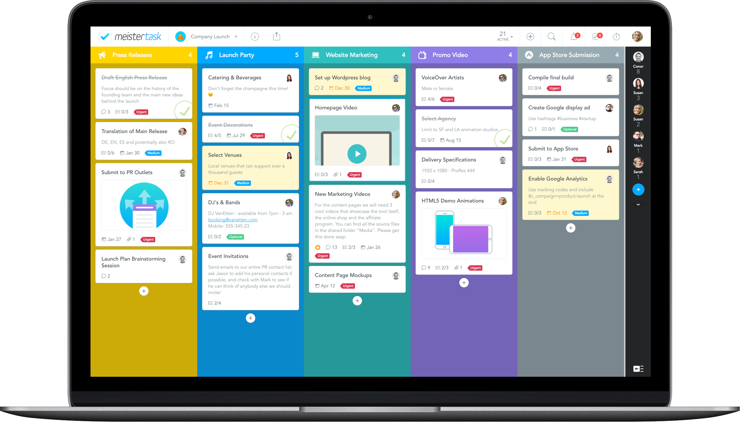 MeisterTask Business Zapier Automations project board