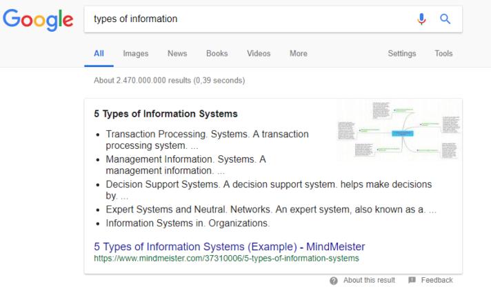 MindMeister Google rich snippet