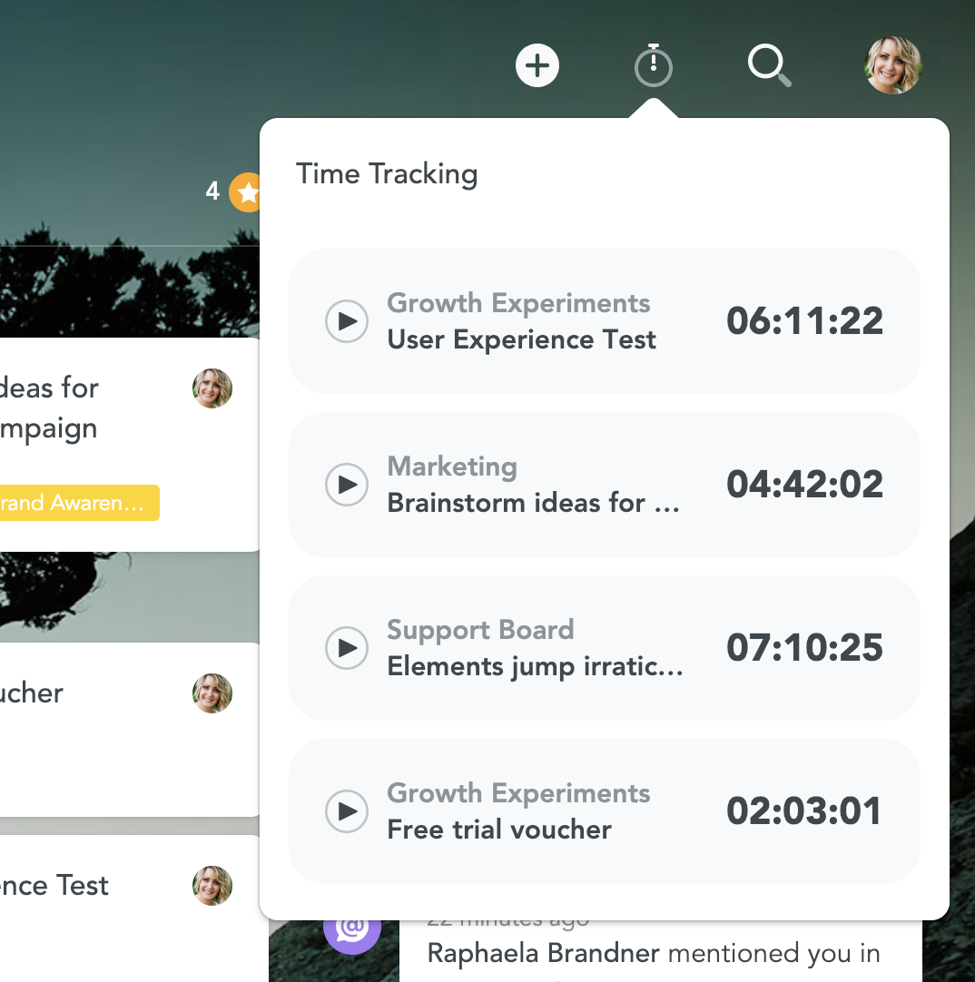 Time tracking on the dashboard