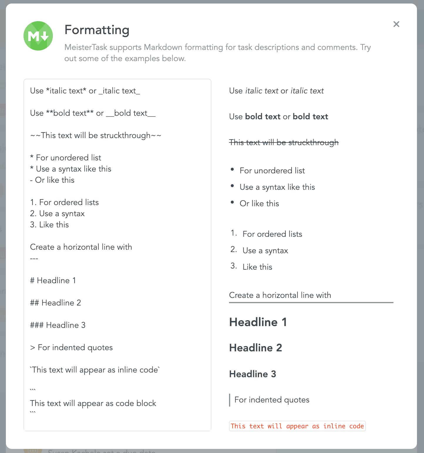 Markdown formatting