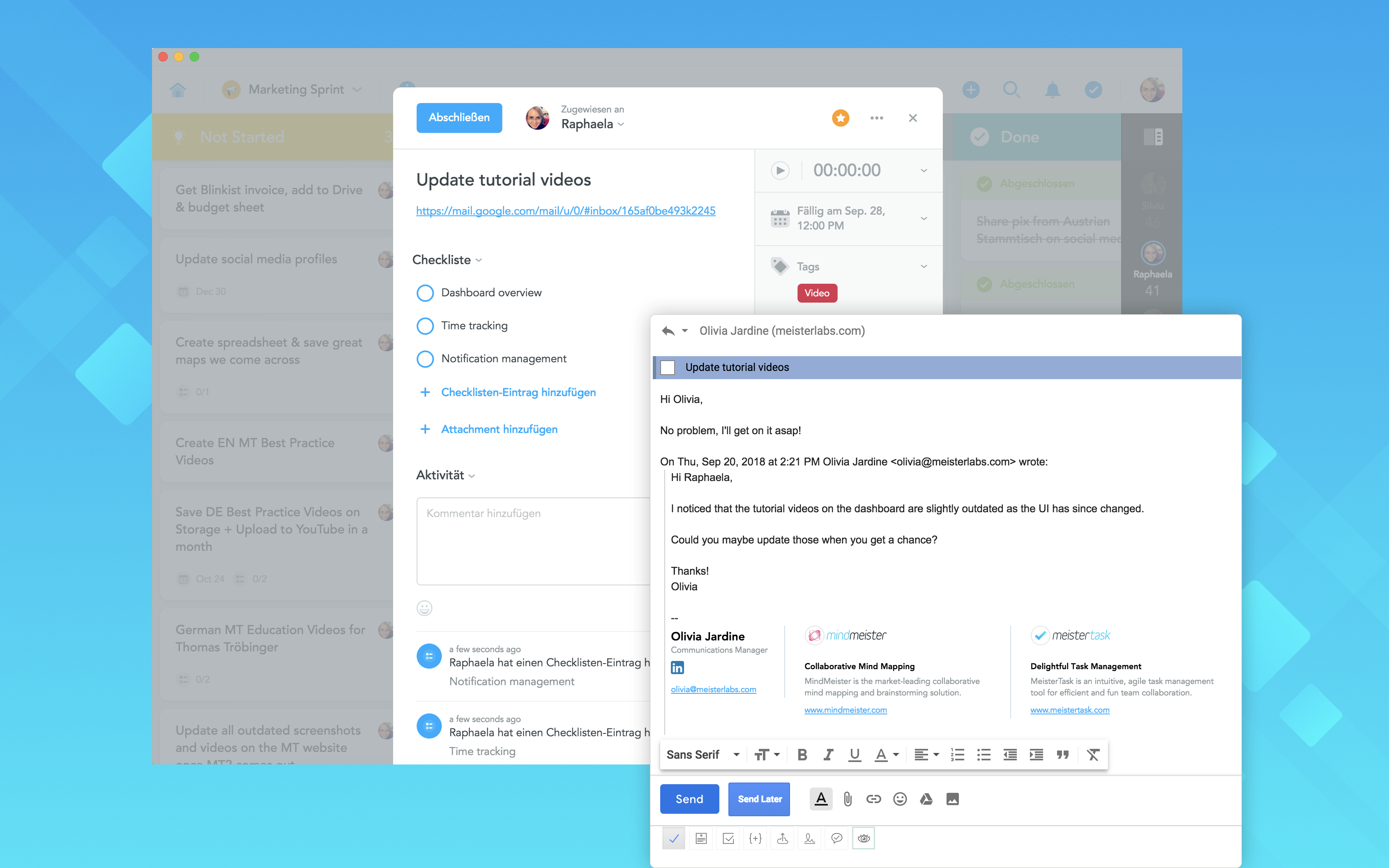 Sync email tasks with MeisterTask projects