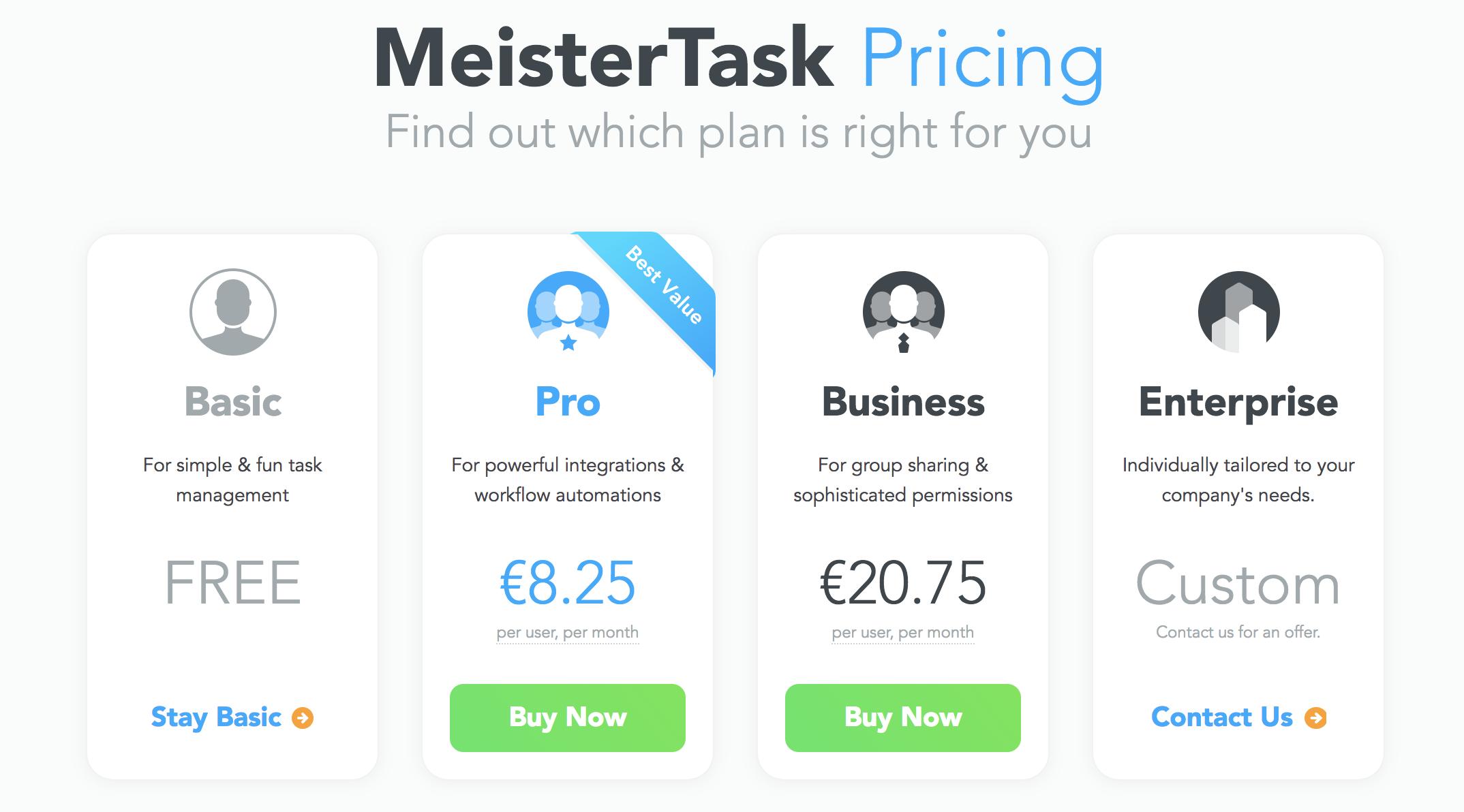 MeisterTask Pricing