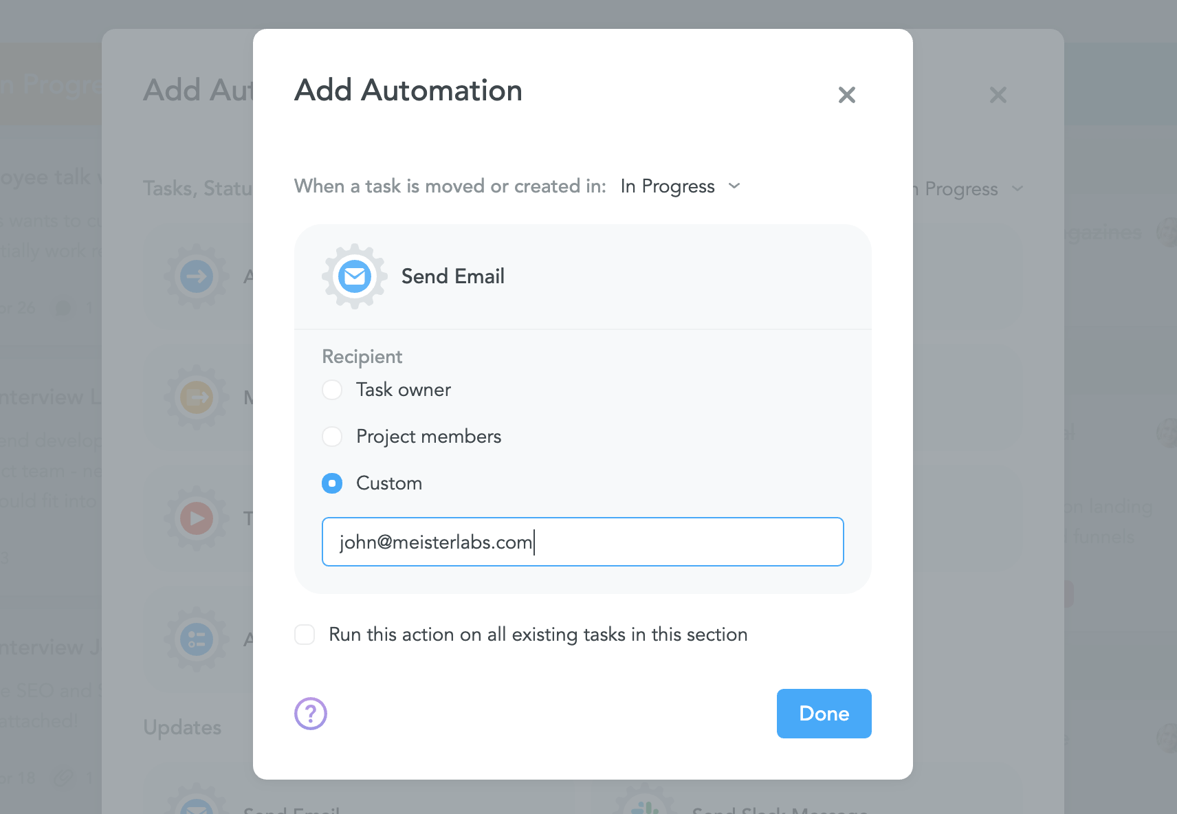Adding an email automation in MeisterTask
