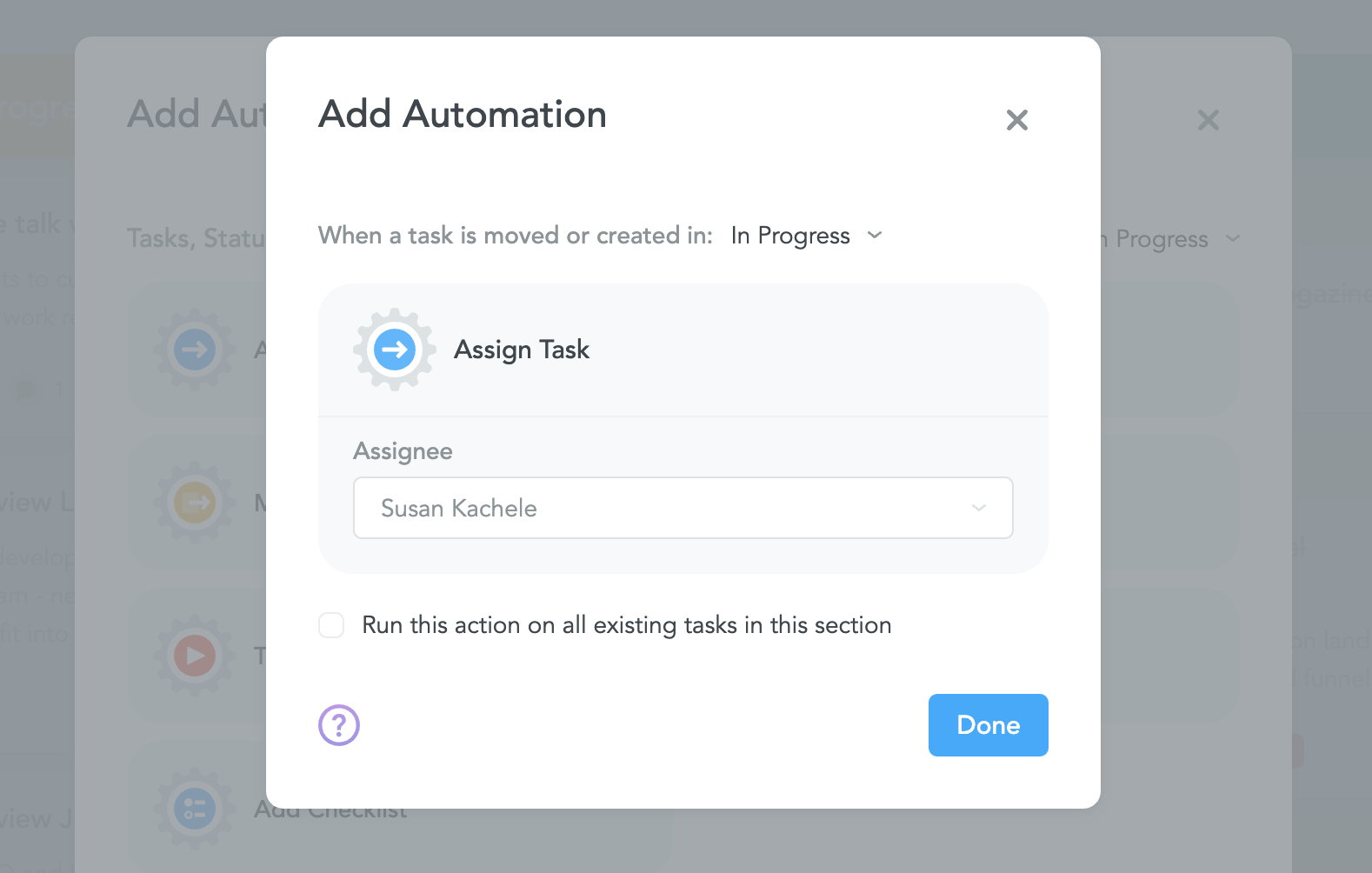 Automatically assigning tasks in MeisterTask