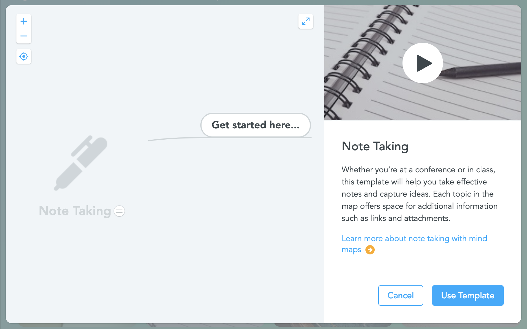 Note taking template preview