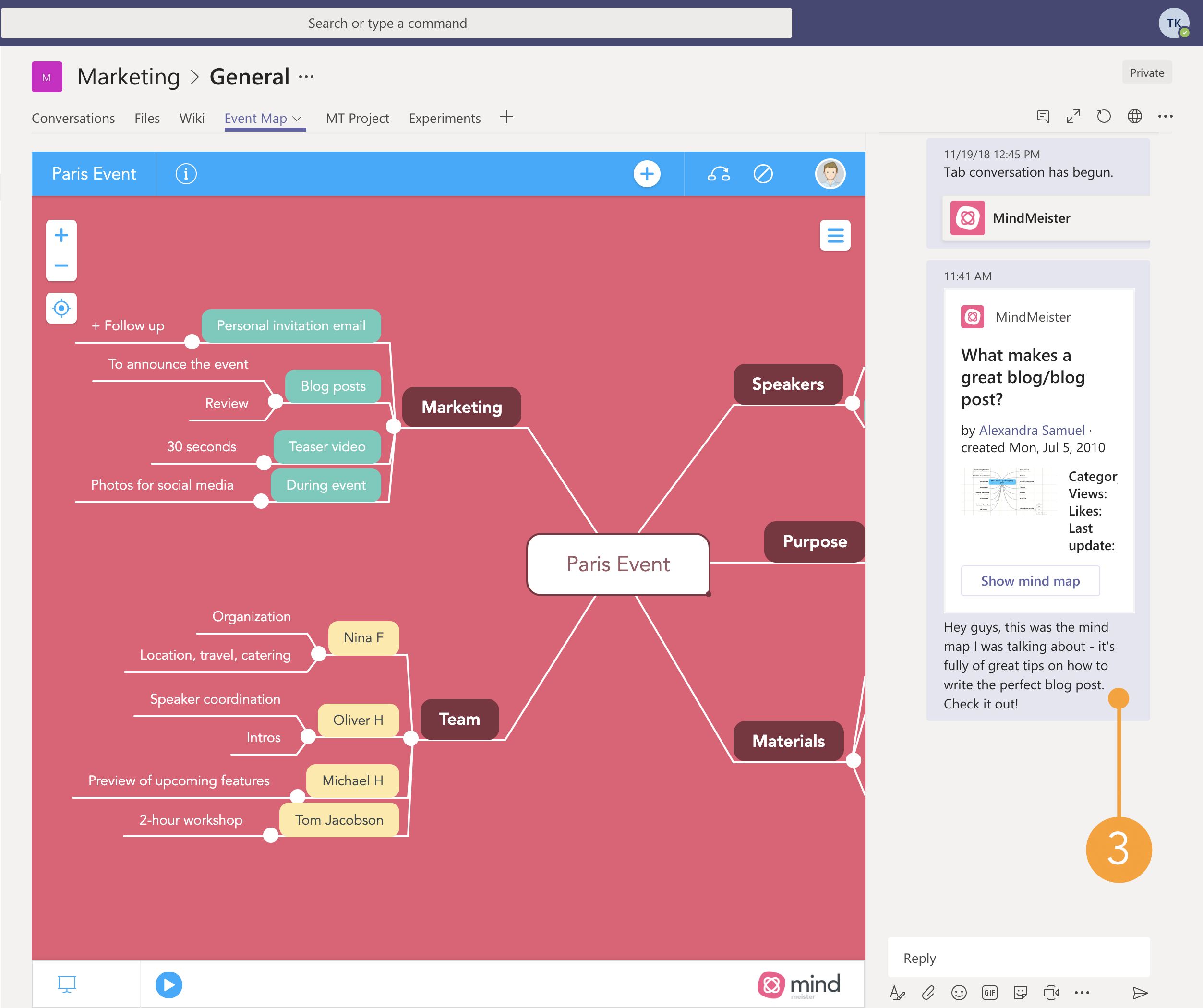 Sharing a public mind map