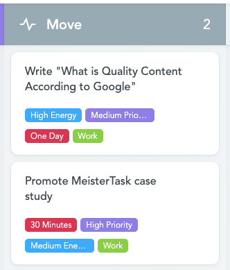 MeisterTask Tasks with Category Tags