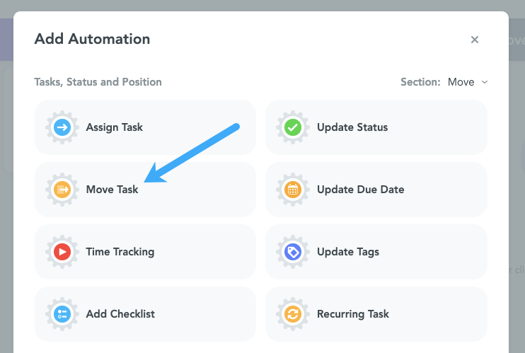 Move Task MeisterTask Automation