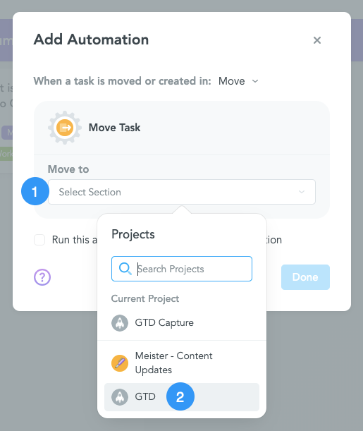 Move Task to Different MeisterTask Project