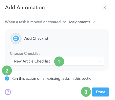 Add Checklist Automation Creation in MeisterTask