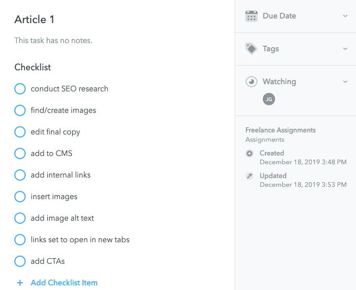 Checklist in MeisterTask