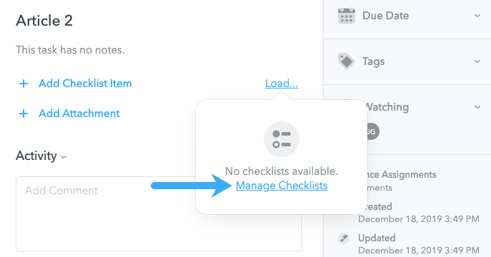 Manage Checklists in MeisterTask