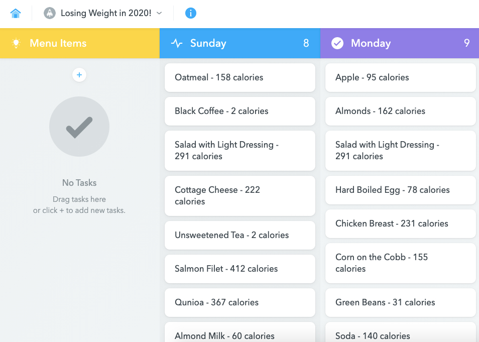 MeisterTask for Weight Management Meal Plan