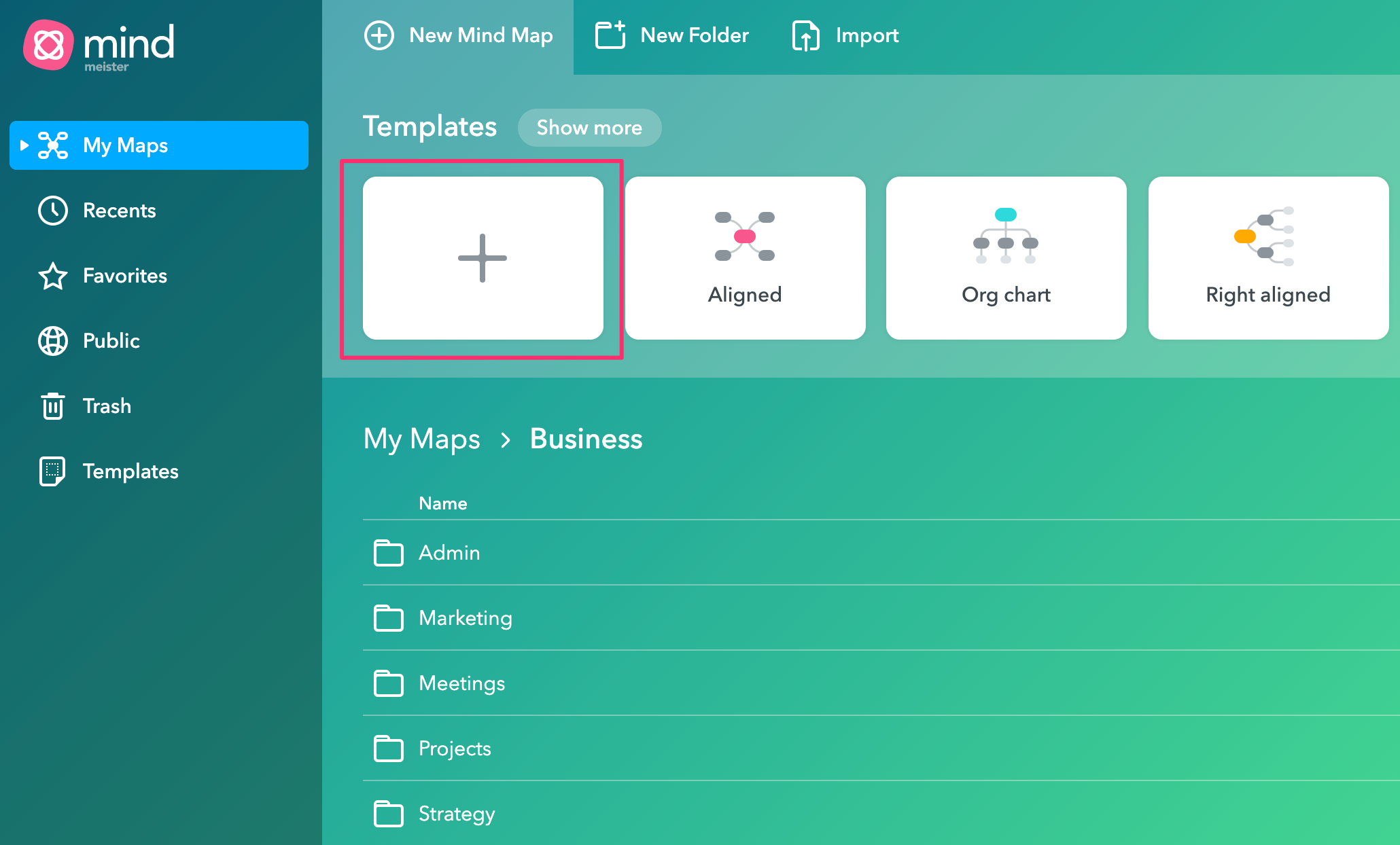 Create a new mind map in MindMeister