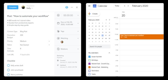 MeisterTask task as Google Calendar Event