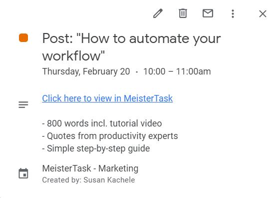 Google Calendar MeisterTask Event Detail