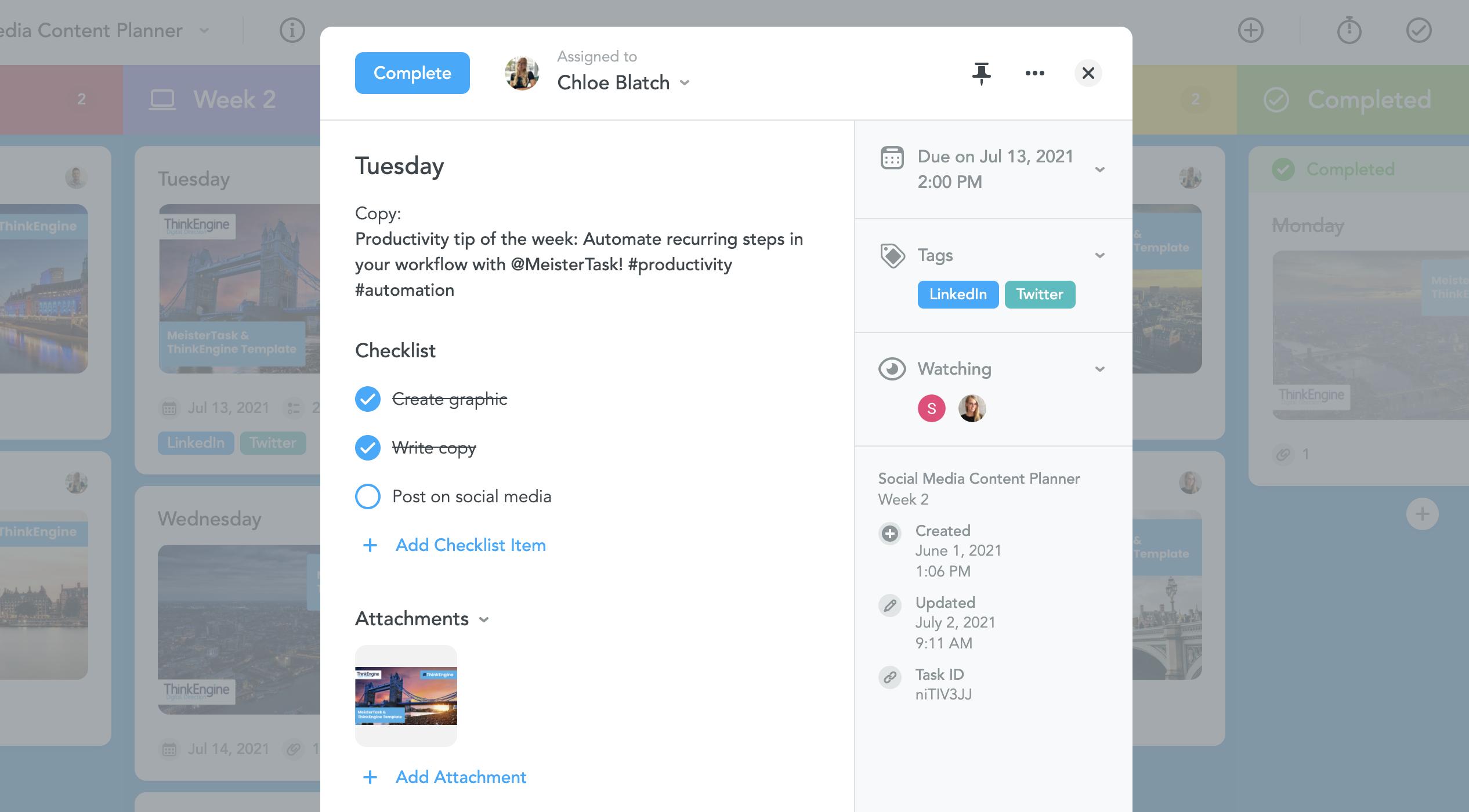Social Media Post Task